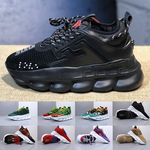 2019 New Fashion Chain Reaction Mens Womens Designer Sneakers Medusa Link-Embossed Sole Luxury Casual Trainers Running Shoes Size 36-45