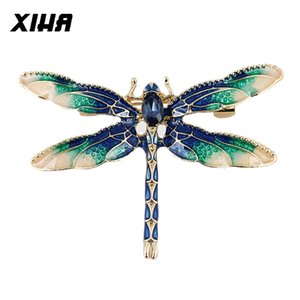20pcs lot Crystal Rhinestone Dragonfly Brooch Dress Suit Insect Broches Vintage Brooches for Women Green Enamel Pin Dropshipping