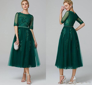 Dark Green Tea Length Tulle A Line Prom Dresses Lace Applique Half Sleeves Maid of Honor Bride Dress Buttons Back Short Party Gowns on Sale