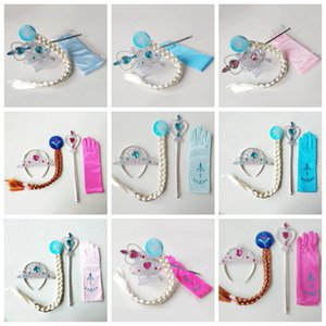 Wholesale plastic princess jewelry for sale - Group buy Princess Crown Magic Wand Gloves Wig Halloween Cosplay Kids Children Ice Girls Cosplay Jewelry Sets Styles HHA480