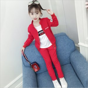 Wholesale Children's wear girls three-piece 2019 spring new big boy little girl Korean version of the cotton long-sleeved casual suit tide