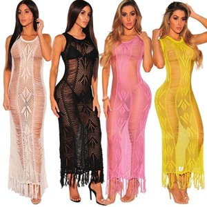 Fashion Women Knit Bikini Cover Up Hollow Out Tassel Dress Coat Swimwear Swimsuit Summer See Through Beach Dress Beach Cover Up