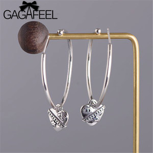 Wholesale New Hot Elegant Drop Earrings Women Flat Smooth Circle Hoop Earring With Heart Pendant S925 Sterling Silver Earrings