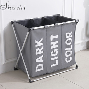 Wholesale Shushi Hotselling Water Proof Three Grid Laundry Organizer Bag Dirty Laundry Hamper Collapsible Home Laundry Basket Storage Bag T190708