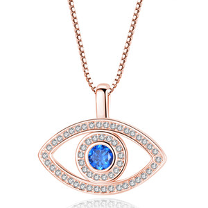 Wholesale gold pendants for sale - Group buy Blue Evil Eye Pendant Necklace Luxury Crystal CZ Clavicle Necklace Silver Rose Gold Jewelry Third Eye Zircon Necklace Fashion Birthday Gift