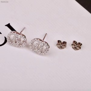 Wholesale S925 silver Top quality hollow Words with diamond stud Earrings for lady Fashion Design Wedding With brand name Jewelry With box PS7454