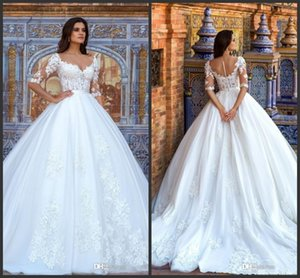Short Sleeve Ball Gown Sexy Wedding Dresses 2019 Bridal Gowns Crystal vestido de novia Lace Applique Princess Wedding Gowns
