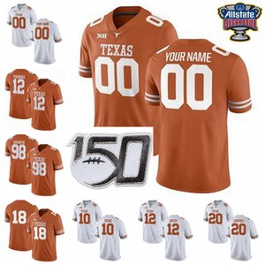 potros de futebol venda por atacado-NCAA Texas Longhorns College Football Jerseys Vince Young Jersey Ricky Williams Earl Campbell Sam Ehlinger Colt McCoy personalizado costurado