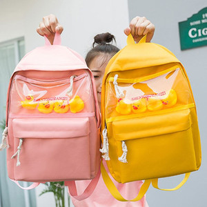 Harajuku Yellow Duck Canvas Women Backpacks Clear Pvc School Bags for Teen Girl Female Travel Bag Large Capacity Backpack Purse