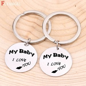 Wholesale Fashion Hand Stamped Engraved MY Baby I LOVE YOU Lips Keychain For Couples Son Daughter Family Gifts Stainless Steel Keyring