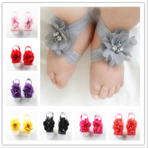 Wholesale Baby Princess Sandals Kids Girls Flower Shoes Cover Barefoot Foot Lace Flower Ties Infant Kids First Walker Shoes Baby Wrist Flowers TL195
