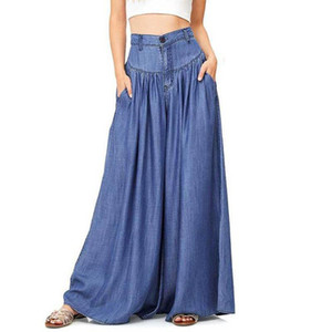 Wholesale 2018 New Trousers Women High Waist Long Harem Pants Pockets Loose Pleated Denim Blue Wide Leg Pants Party Palazzo Plus Size