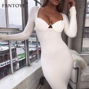 Wholesale Fantoye Knitted Deep V neck Sexy Bodycon Women White Long Sleeve Bandage Pencil Dress Casual Party Dresses Sundress C19040301