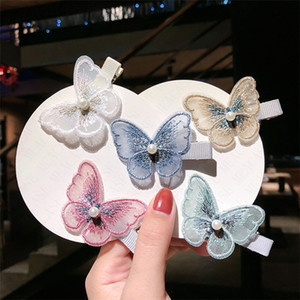 Wholesale butterflies clips resale online - Embroidery three dimensional butterfly hairpin Butterfly Hair Clip Hairpins for Girls Headwear Gradient Hair Pins Accessories D62803