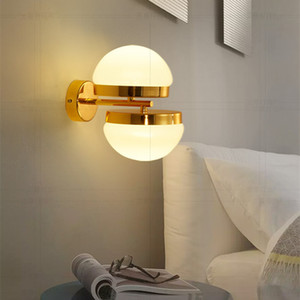 Wholesale Nordic Beedroom Bedside Led Wall Lamp Creative Art Half Sphere Parlor Aisle Light Indoor Wall Sconce Lighting