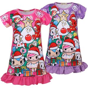 Wholesale Children Christmas dress Girls Baby Santa Claus Holiday Dress Girls Nightgown Kids Sleeping wear summer Party Tutu Dress KKA7157