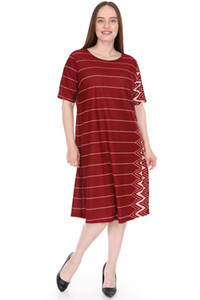 Wholesale pianoluce Large Size Women's Half Sleeve Dress Lire 1542 Bordeaux
