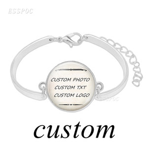 Fashion Handmade Custom Photo Bracelet Customize Word Logo Silver Bangle Glass Dome Jewelry Women Baby Girl Lover Sisters Gifts