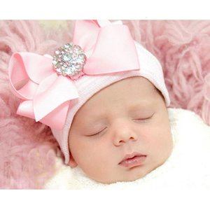 Wholesale DreamShining Cute Bowknot Baby Hat Cotton Infant Newborn Photography Props Knitted Striped Baby Girl Caps Beanie Toddler Hats