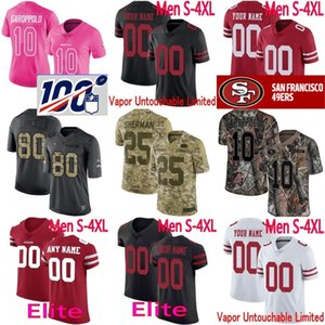 Wholesale 100th custom 49er Men Women Youth George Kittle Montana Richard Sherman Jimmy Garoppolo Deion Sanders Ronnie Lott Montana Bosa Elite Jersey
