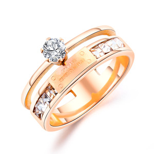 rings for women stainless steel Titanium rose gold laser love forever diamond band rings womens jewelry for valentine gifts