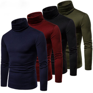 Men Long Sleeve Pullover High Neck Turtleneck Stretch Slim T Shirt Tee
