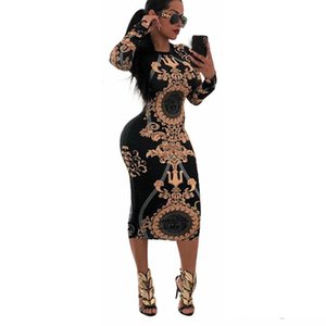 Wholesale Women Casual O neck Print Long Sleeve Bodycon Party Long Dress Ladies Sexy Striped Clubwear Dresses