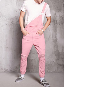 Wholesale MJARTORIA New Pink Fashion Men s Ripped Jeans Jumpsuits Hi Street Distressed Denim Bib Overalls For Man Suspender Pants