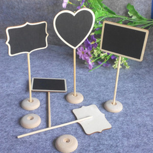Wholesale Star Heart Shape Mini Chalkboard Wood Place Card Holder Stand For Dessert Table WordPad Message Board Holder For Wedding Party DBC VT0432