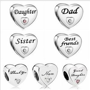Wholesale Best Friends Daughter Sister Dad Thank You DIY Silver Charm Loose Bead Jewelry Marking Charms Fit Pandora Bracelet European