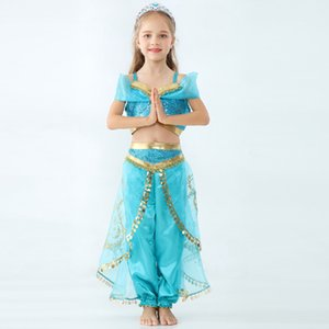 Wholesale Kids Aladdin Lamp Jasmine Princess outfits children Cosplay Costume cartoon Kids Makeup party Clothing Girl designer clothes GGA2164