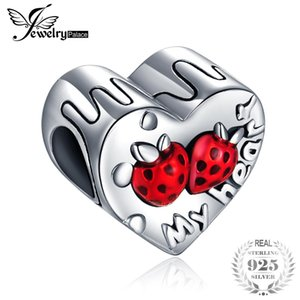 Wholesale JewelryPalace Sterling Silver Red Enamel Strawberry My Heart Charm Bead Fit Bracelet For Women New Hot Sale As Best Gifts