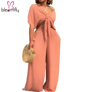 Wholesale Plus Size Sexy Two Piece Set Women Outfits Bow Tie Tops wide Leg Pants Sexy Nightclub Women s Suit Casual Clothes Matching Sets Q190416