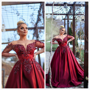 Burgundy Lace Beaded 2019 African Evening Dresses Sweetheart 3 4 Long Sleeves Sexy Prom Dresses Satin Cheap Formal Party Bridesmaid Gowns on Sale