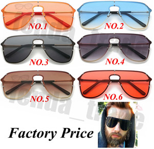Wholesale 5PCS Sexy Unique Oversized Sunglasses Men Vintage One Piece Lens Yellow Red Big Sun Glasses Big Frame Women Windproof UV400 Promotion