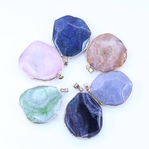 Wholesale stone edging resale online - Edge Facted Stone Pendant LGMT