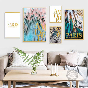 Wholesale Bird Green Feather Wall Art Canvas Painting Nordic Posters And Prints Animal Wings Wall Pictures For Living Room Home Decor