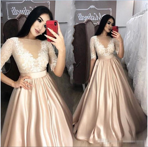 Wholesale 2019 Elegant Champagne Sheer Jewel Neck Prom Evening Dresses Long Sleeve Lace Applique Party Gowns A-Line Satin Floor Length Occasion Wears