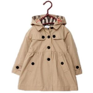 Wholesale 2T--8T new childrens clothing girl spring and autumn princess coat solid color medium-long single breasted trench babys outerwear