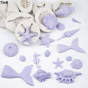 Wholesale 3D Mermaid Tail Silicone Molds Shell Starfish Soap Mold Cake Decoration Tools Sugar Craft Candle Moulds DIY Craft Fondant Molds
