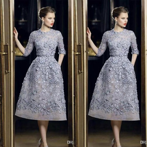 Wholesale Elie Saab Evening Dresses Elegant Lace Applique A-Line Prom Gowns 3 4 Long Sleeve Tea Length Sexy Formal Party Celebrity Dress Customized