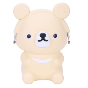 Kids Coin Purse Cartoon Bear Coin Holder Silicone Small Wallet for Creative Yellow