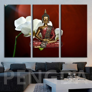 Wholesale Modular Pictures Canvas Painting Wall Art Modern Buddha Statues Flower Poster Printa Modern For Living Room Home Decor Framework