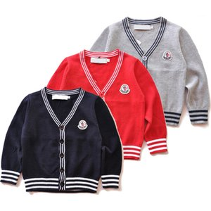 Wholesale New Kids sweater color Autumn Children Polo cardigan Coat Baby Boys Girls single breasted jacket Sweaters outerwear CJJ22