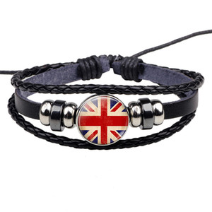 Wholesale Union Jack Bracelet British Flag Jewelry Black Rope Bracelet Bangle Men Women Fashion