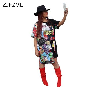 Wholesale Plus Size Summer T Shirt Dresses Women Funny Cartoon Printed Irregular Short Dress Hip Hop O Neck Short Sleeve Loose Dress