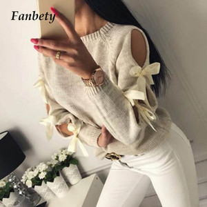 Fanbety Women Hollow Out Bowknot Knitted Sweater Lady Casual O Neck Long Sleeve Pull Jumper Femme Winter Hiver Ribbed Pullovers
