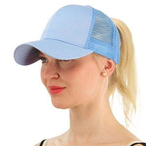 Wholesale Women Girls Ponytail Ball Cap Messy Bun Trucker Ponycap Plain Baseball Visor Cap Summer Snapbacks Basketball Hats Back Hole Pony Tail