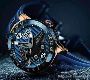 2019 New Ulysse Executive El Toro Black Toro Perpetual Calendar GMT 326-00-3 BQ Rose Gold Blue Dial Rubber Automatic Mens Watch UN-17c3 on Sale