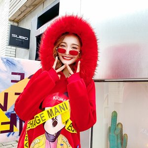 Wholesale Red Big Fur Hooded Sweatshirt Women Hoodie Fashion Brand Cool Version Street Pull Hip Hop Cartoon Hoodie Women